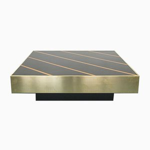 Vintage Brass & Wood Coffee Table by Willy Rizzo for Cidue Italia, 1970s