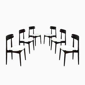 Italienische Mid-Century Modern Esszimmerstühle aus Buche & Weißem Stoff von Baggio, 1970er, 6er Set