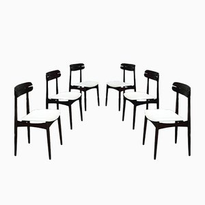 Mid-century Italian Modern Solid Beech and White Fabric Dining Chairs from Baggio, 1970s, Set of 6