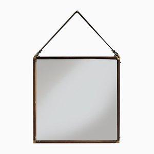 Italian Brass & Rosewood Mirror, 1950s