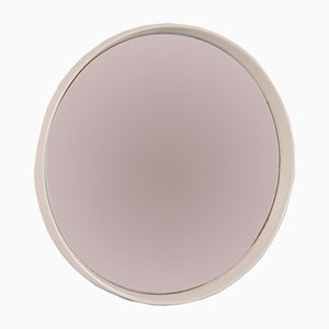 Vintage Large Round Mirror With White Edge, 1960s