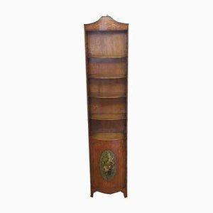 English Sheraton Revival Painted Satinwood Bookcase, 1900s
