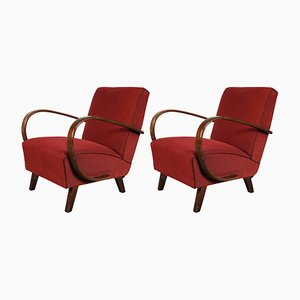 Czech Art Deco Armchairs by Jindrich Halabala, 1930s, Set of 2