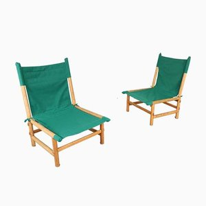 Vintage Ash Wood and Fabric Lounge Chairs, Set of 2