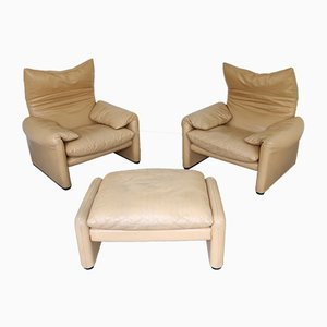 Vintage Model Maralunga Lounge Chairs & Ottoman by Vico Magistretti for Cassina, Set of 3