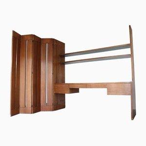 Wandregal aus Holz mit Schreibtisch und Trennwand, 1960er