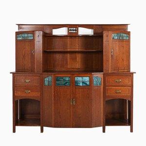 Credenza Art Deco in legno e vetro, anni '30