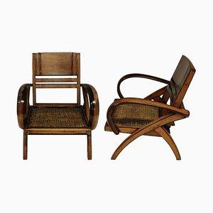 Französische Koloniale Pflanzer Stühle, 1920er, 2er Set