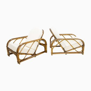 Rattan Lounge Chairs by Adrien Audoux & Frida Minet, 1950s, Set of 2
