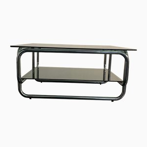 Steel and Smoked Glass Coffee Table, 1970s