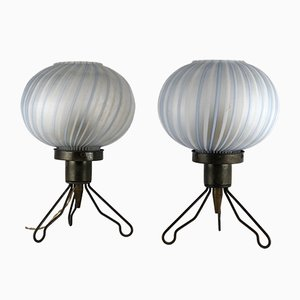 Italian Brass and Blown Murano Glass Table Lamps, 1950s, Set of 2