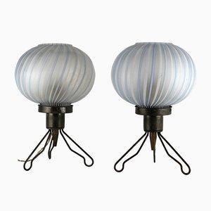 Italienische Tischlampen aus Geblasenem Murano Glas, 1950er, 2er Set
