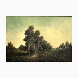 Large Antique Forest Painting, Oil on Canvas