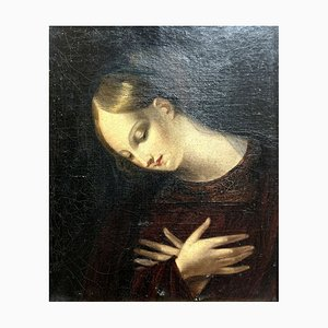 French School, Framed Portrait of Woman's Prayer, 1800s, Oil on Canvas