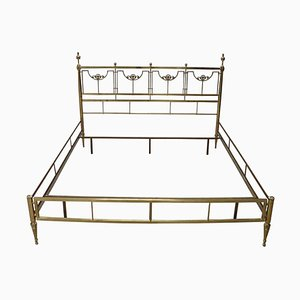 Vintage Golden Brass Double Bed, 1980s