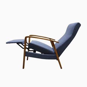 Mid-Century Danish Reclining Armchair in Navy Blue, 1960s