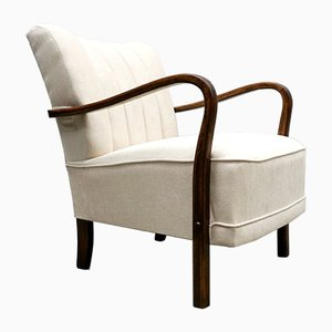 Armchair with Ivory Upholstery, 1940s