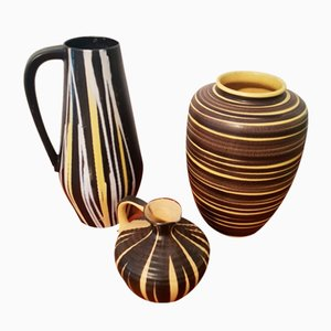 Black & Yellow Ceramic Vases, 1950s, Set of 3