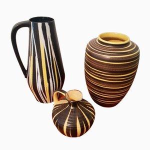 Vases en Céramique Noire et Jaune, 1950s, Set de 3