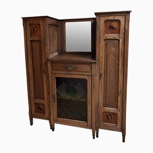 Oak Art Nouveau Arts & Crafts Display Cabinet with Bird Panels, 1900