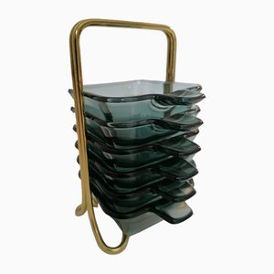 Stacking Ashtrays by Wilhelm Wagenfeld for WMF, 1950s, Set of 6