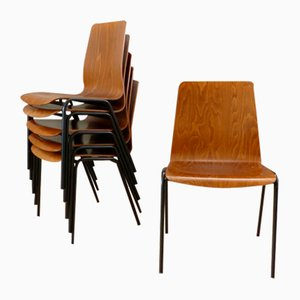 Plywood Dining Chairs from Rilsan, 1950s, Set of 6