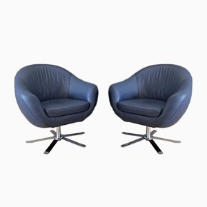 Blue Leather Swivel Armchairs by Joop for Himolla Polstermöbel, 2016, Set of 2