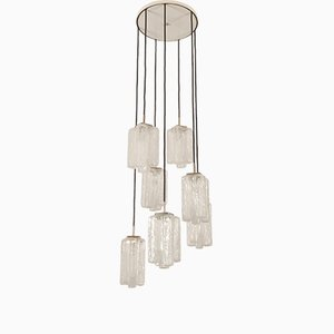 Large Ice Glass Granada Cascading Chandelier from Kalmar