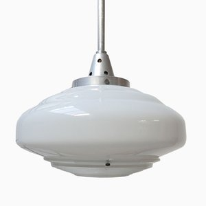 French Two Tone Glass Opaline Ceiling Lamp from Holophane, 1950s