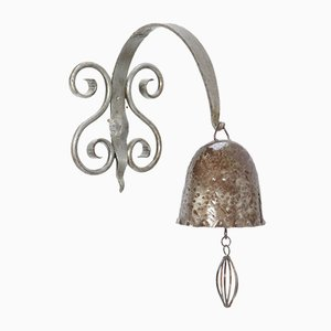 Patinated Wrought Iron Art Deco Amsterdam School Gong or Bell, 1930s