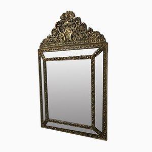 Antiker goldener Napoleon III Spiegel mit Perlen