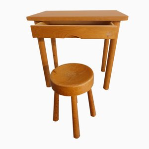 Les Arcs Desk and Stool by Charlotte Perriand, 1950s, Set of 2