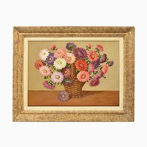Flower Painting, Daisies Painting, Still Life, Oil on Canvas, 20th Century, Art Deco