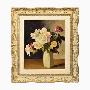 Peinture Nature Morte, Fleurs Vase, Vase de Roses, Huile sur Toile, 20ème Siècle, Art Deco
