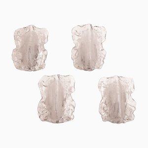 Ice Glass Sconces by J. T. Kalmar for Kalmar Franken KG, 1970s, Set of 4
