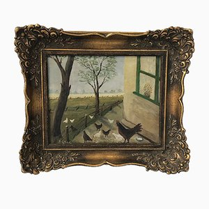 Antike Gerahmte Gemälde von Hof