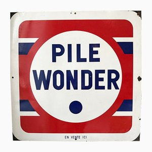 Emailliertes Pile Wonder Schild, 1950er
