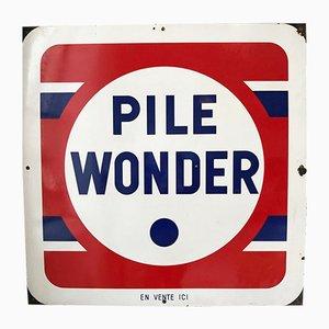Enseigne Pile Wonder Emaillée, 1950s