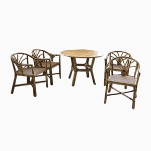 Rattan Dining Table & Chairs Set, 1950s, Set of 5