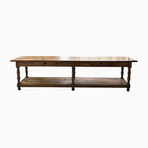 Antique Solid Walnut Drapery Table