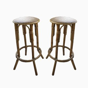 Hohe Rattan Hocker, 1960er, 2er Set