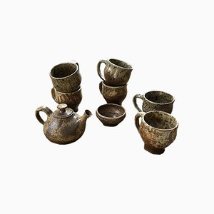 Cups and Teapot Set by André Bodin for Vallauris, 1960s