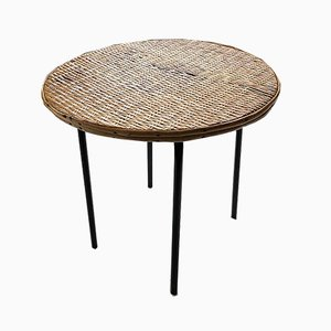 Wicker and Metal Coffee Table, 1950s