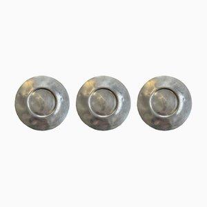 Silver Tin Plates, 1950s, Set of 3