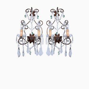 Italian Bronze & Murano Glass Crystal Sconces, 1950s, Set of 2