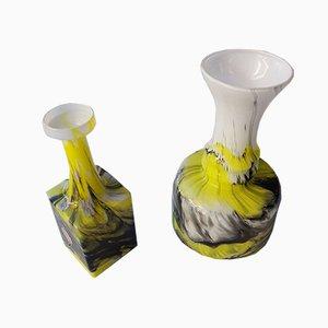 Italian Glass Vases from Opalina Fiorentina, 1960s, Set of 2