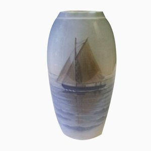 Porcelain Vase with Ship from Bing & Grondahl, 1950s