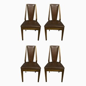 Walnut Dining Chairs, 1920s, Set of 4
