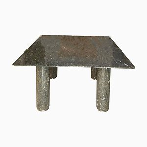 Square Labradorite Stone Dining Table in Silver and Gray