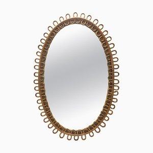 Specchio da parete in vimini di Franco Albini